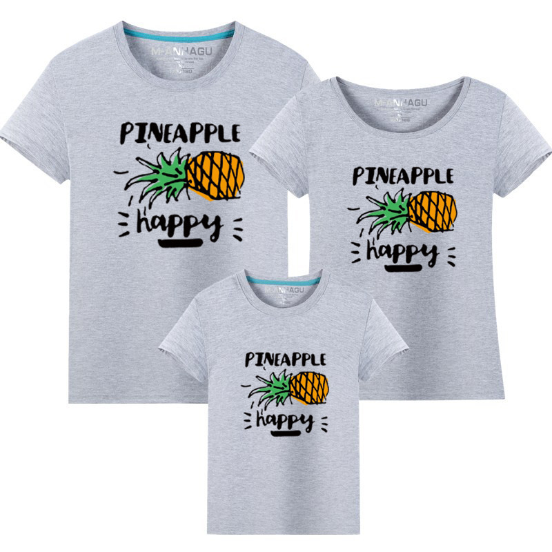 1 piece T shirt Cotton Father Son Short Sleeve T shirt Fashion Pineapple Pattern Summer Family Look Mother And Daughter Clothes in Matching Family Outfits from Mother Kids