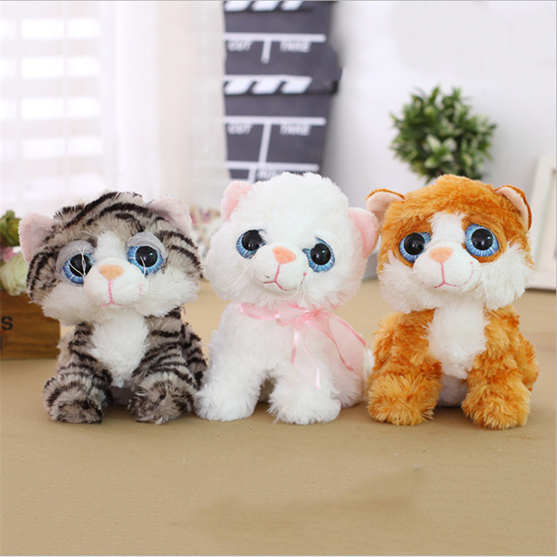 Plush Toys Cute Animal Big Eyes Cat Toys Kawaii Stuffed Soft Cat Dolls Kids Gift 18cm stuffed animal 120 cm cute love rabbit plush toy pink or purple floral love rabbit soft doll gift w2226
