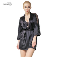 Selebritee Womens Lace Robe with Belt Silk Sleepwear Nightgowns Sleep Lounge Wear Sexy Lingerie set Satin Babydoll Nightwear