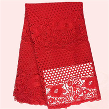 Beauiful red French guipure lace material nice cord lace fabric for wedding/party dress JWZ8-5(5yards/lot)