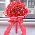Envío Libre Rhinestones Wedding Bouquet Hermoso Artificial Ramo de La Boda de Cristal de Novia de la dama de Honor de Marfil Blanco Azul Rosa Roja