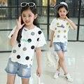 Algodão de Manga Curta camiseta de Verão para Crianças Meninas Tops Tees Roupas de Bolinhas Meninas Camisa de t 4 5 6 7 8 9 10 11 12 13 14 Anos