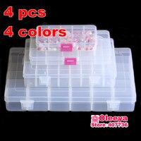 4ピース/ロット10/15/24/36グリッド透明格子縞の収納ボックスプラスチックビーズボックス収納ボックスアクセサリーチェック柄アクセサリーボックスY2697