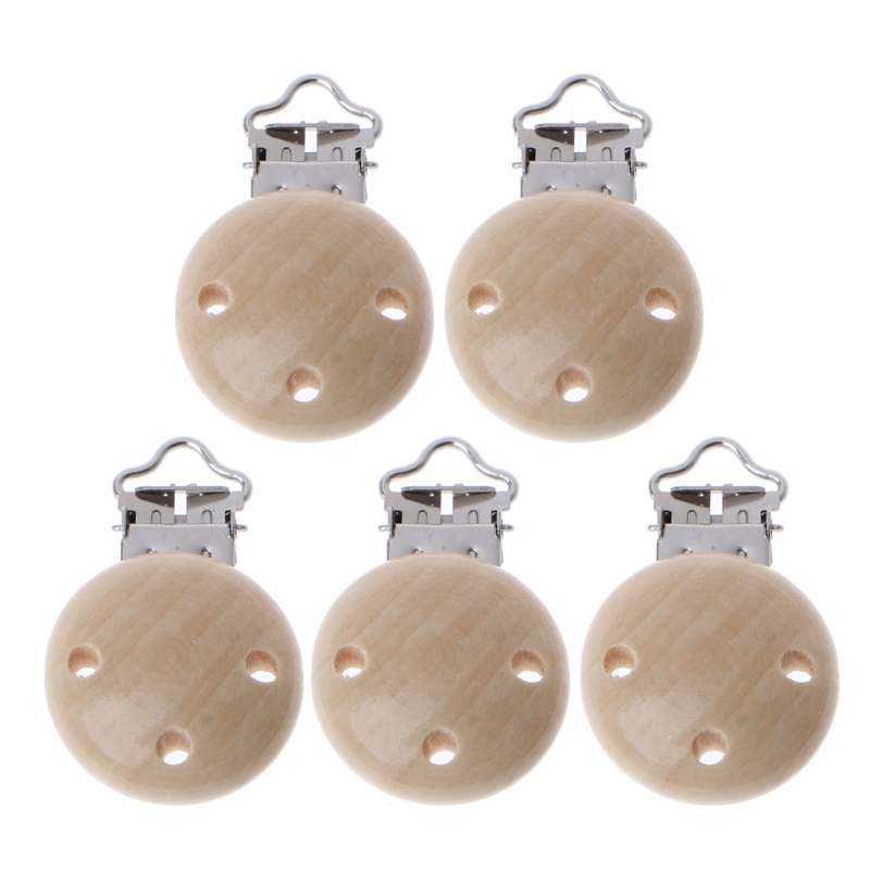 5Pcs/Set 30mm Metal Baby 3 Hole Pacifier Clip Natural Wooden Baby Dummy Nipples Holder Soother Pacifier Clasp Holder Accessories