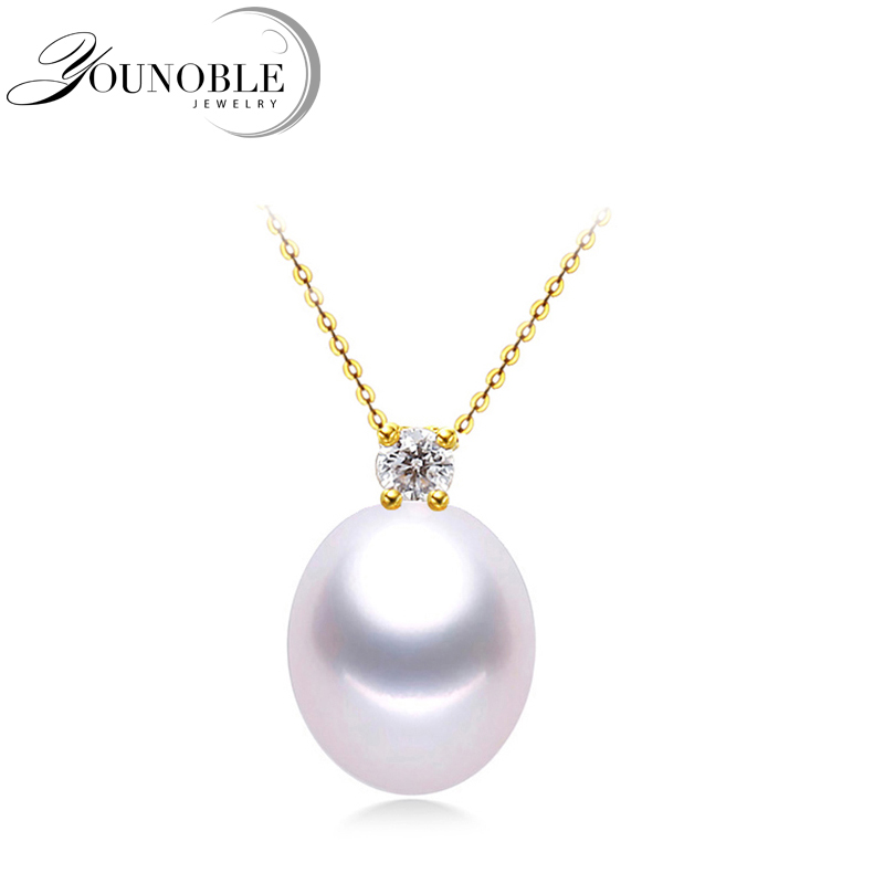 Real 18K Gold Pendant With Pearl Necklace Women,Trendy Gold Jewelry Girls Party Gift 925 Silver Necklace Chain