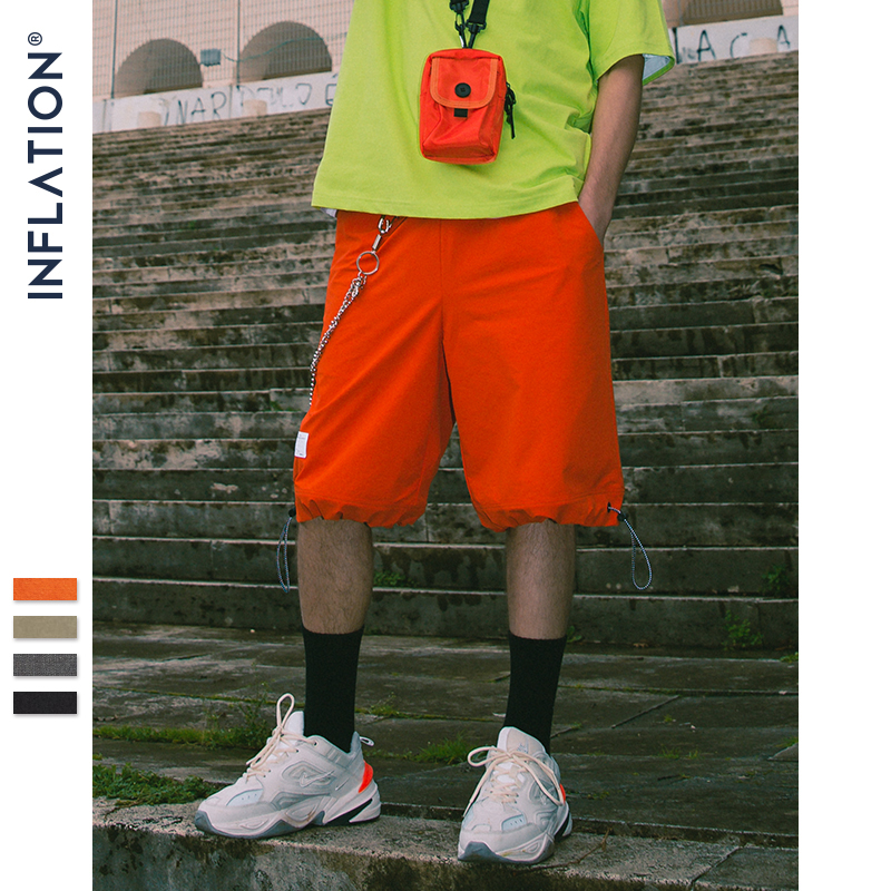 INFLATION Elastic Drawstring Shorts Men Summer Loose Style Straight Skateboard Shorts Mens Street Wear Hip Hop Shorts 9317S