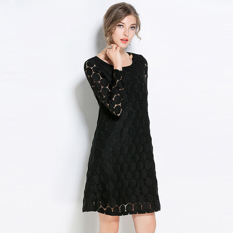 Willstage Plus size 5XL Lace Dress Women Long Sleeve Black Brown Hollow out  Large Pregnant Dresses 2018 Spring Oversize Clothing-in Dresses from Women s  ... 5bf0a6209383