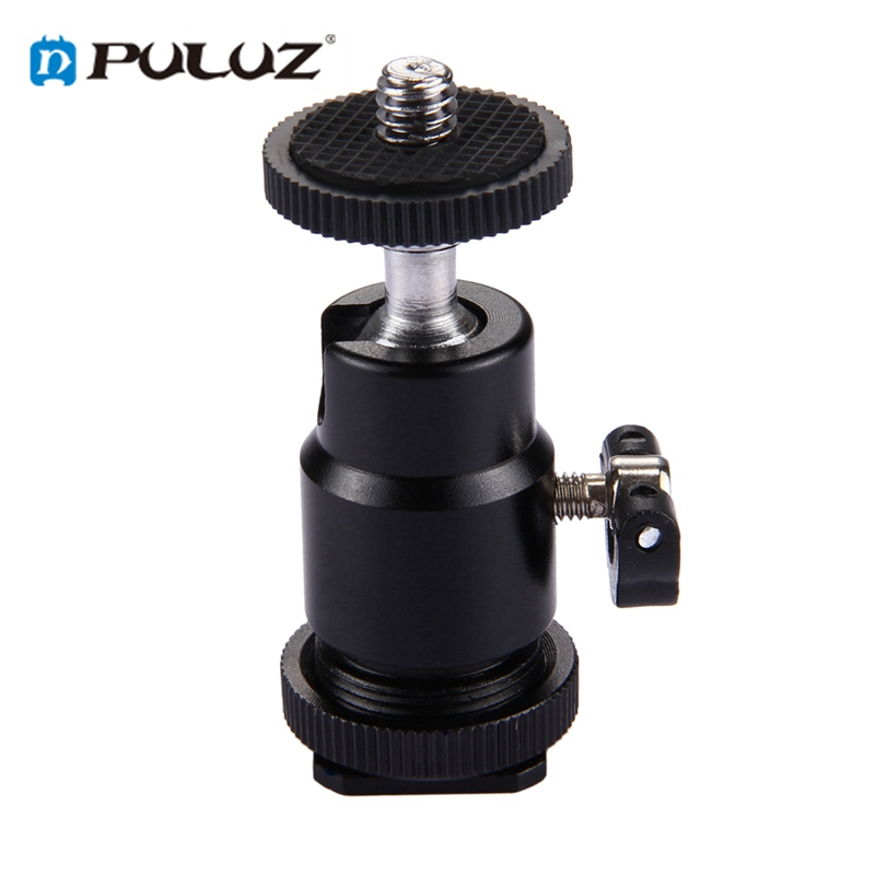 PULUZ PU211 Cold Shoe Tripod Head Mount Adapter Tripod Screw Head with Lock for DSLR Camera