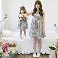 2016 Новый прибытие девушка платье принцессы, лето семья соответствия ткань мама и дочь полосой платье