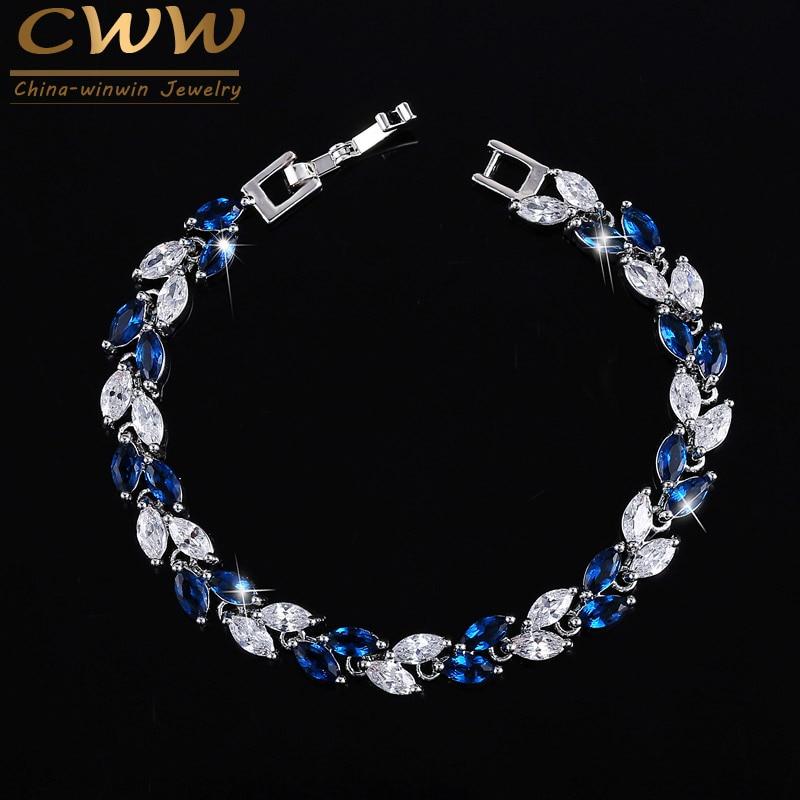 CWWZircons le nouveau 2019 été Design couleur or blanc autrichien Royal bleu cristal bracelets pour femme bijoux de mode CB133