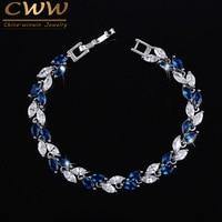 The New 2015 Summer Design White Gold Plated Austrian Royal Blue Sapphire Crystal Bracelets For Women