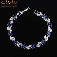 CWWZircons Die Neue 2019 Sommer Design Weiß Gold Farbe Österreichischen Royal Blau Kristall Armbänder für Frauen Mode Schmuck CB133