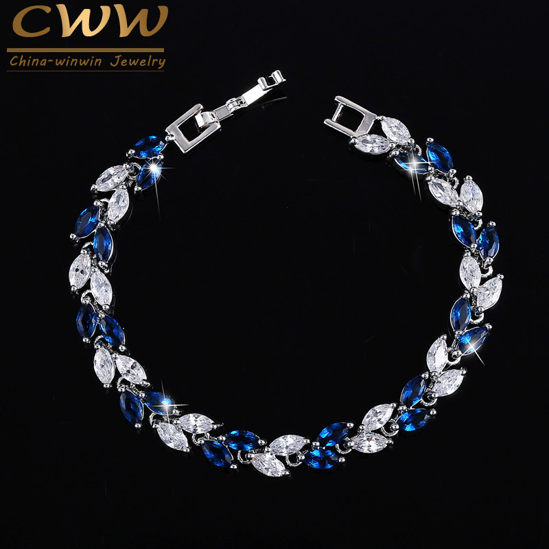 CWWZircons The New 2020 Summer Design White Gold Color Austrian Royal Blue Crystal Bracelets for Women Fashion Jewelry CB133