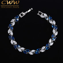 CWWZircons The New 2019 Summer Design White Gold Color Austrian Royal Blue Crystal Bracelets for Women Fashion Jewelry CB133(China)