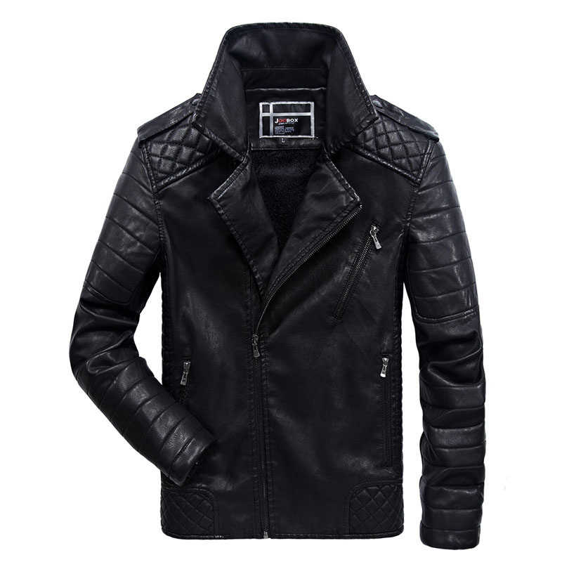 b76442272ec4d New Men s Leather Jacket Winter Fashion Turn Down Collar PU Casual Biker Jacket  Men Bomber Jacket