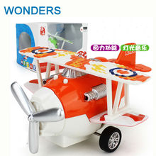 LED light and music Pull Back cartoon planes Aircraft model toy Plastic Alloy Diecasts & Toy Vehicles Learning & Education Toys