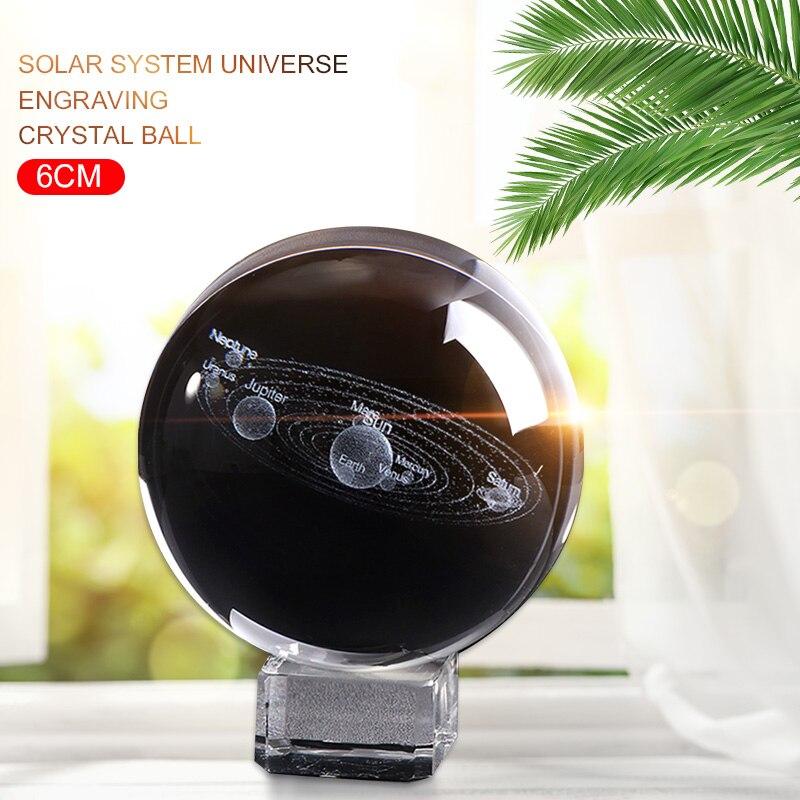 Laser gravé boule de Quartz cristal Bal mode créatif système solaire boule Miniature boule de verre pour la décoration intérieure livraison directe 6 CM