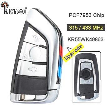 KEYECU 315/433/868 MHz PCF7953 układu CAS4 +/FEM KR55WK49863 ulepszony 3 przycisk zdalnego klucza Fob dla BMW 1 2 3 4 5 6 7 seria X3 M2