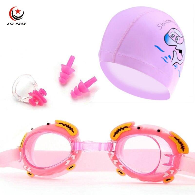 A Set 3pcs Dívky plavecké brýle Cap Vodotěsné proti zamlžení UV ochrana plavecké brýle pro chlapce Děti děti Cartoon Pool Eyewear