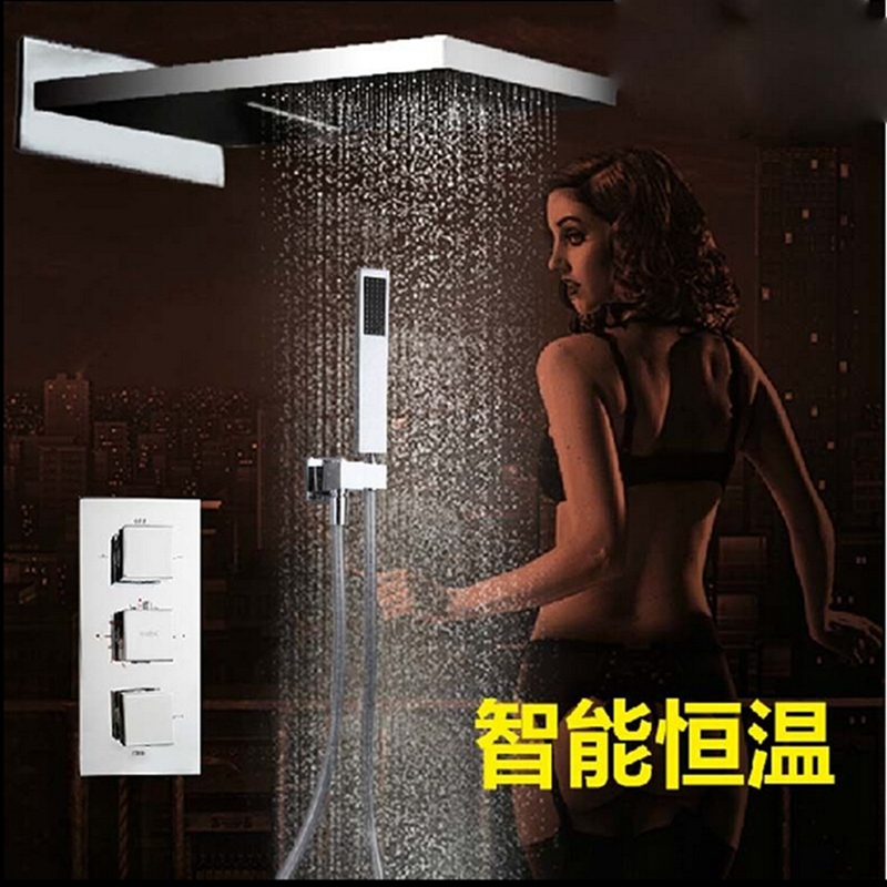 Thermostatic Valve Mixer Rain Shower Head Waterfall Spout W/ Hand Shower Mixer