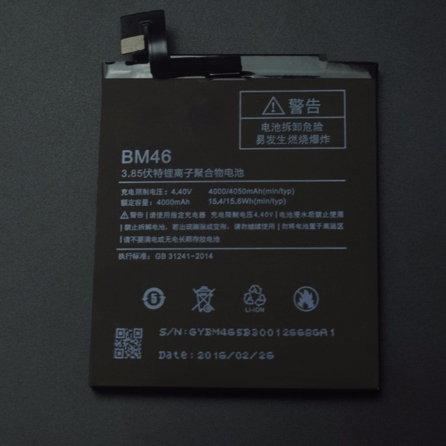 For Xiaomi Battery High Quality BM46 4000mAh Battery Replacement for Xiaomi Redmi Note 3 Pro / Hongmi Note3 Prime