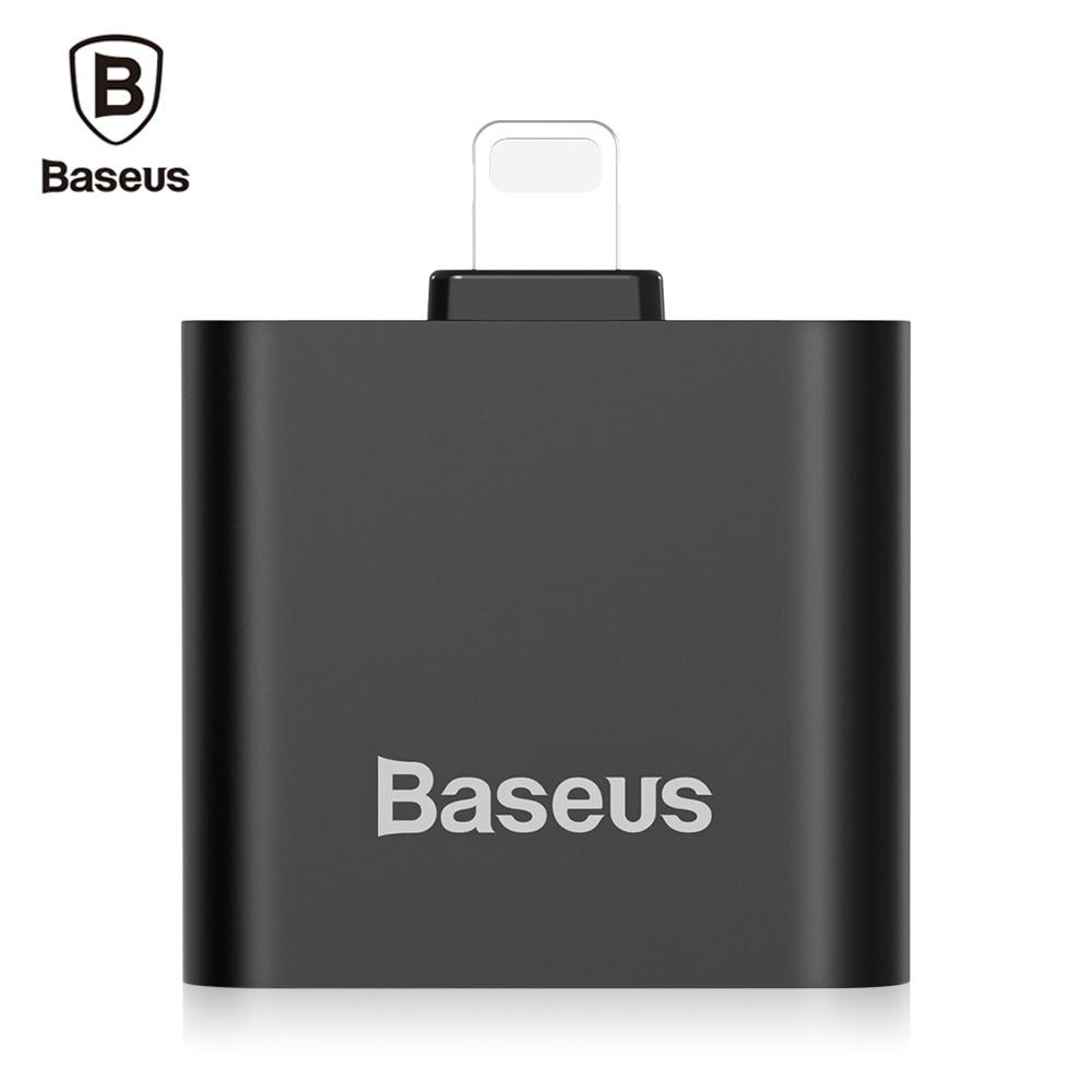 Цена за Оригинал Baseus L39 Двойной 8 1.5A Pin Audio Адаптер для iPhone 7/7 Плюс iOS 10.0 до 10.3 Системы Дистанционного Управления и Микрофон