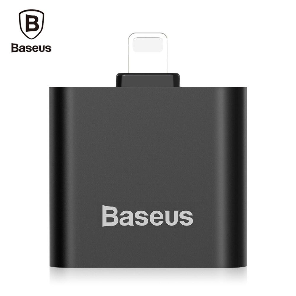 imágenes para Original de Baseus L39 1.5A Dual de 8 Pines Adaptador de Audio para el iphone 7/7 Plus iOS 10.0 a 10.3 Sistemas de Control Remoto y Micrófono