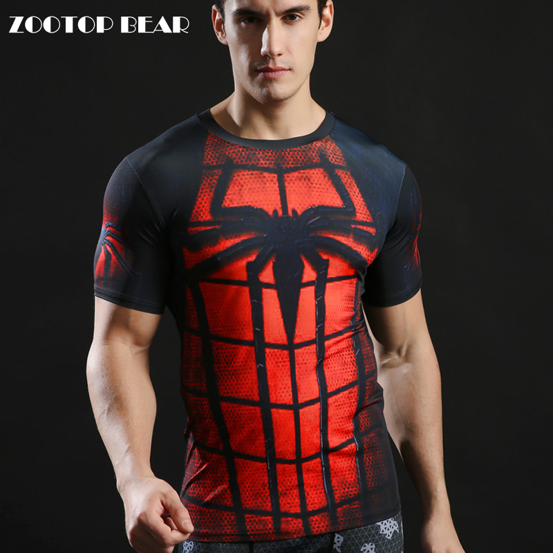 Fitness Tshirts 3D Spiderman Tops 2017 Superhero T-shirts Compression Quick Dry T shirts Summer Superhero Tees 2017 ZOOTOP BEAR