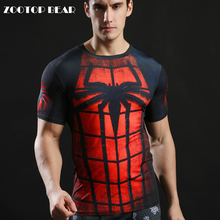Fitness Tshirts 3D Spiderman Tops 2017 Superhero T shirts Compression Quick T shirts Summer Superhero Tees