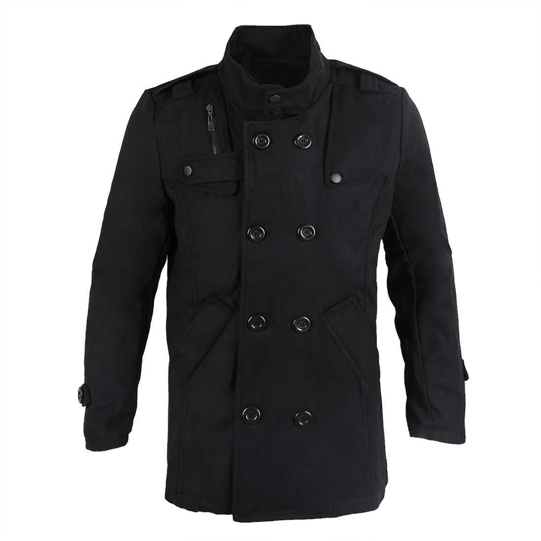 Приталенное длинное пальто, теплое пальто в двойную грудной горошек