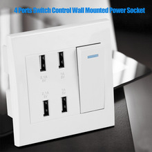 4 Ports USB Socket Switch Control 5V 2.1A/1A 4100mA USB Wall Mounted Power Socket Charger Outlet tomada de parede(220~250V) hot aluminum alloy 4000w tomada usb stopcontact electric 2 usb ports meeting room office