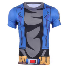 2016 New Avengers Alliance 3D Blue Short Sleeve T-shirt Hand-painted Dragon Ball Z Super Saiyan 3D t shirt Tees Tops