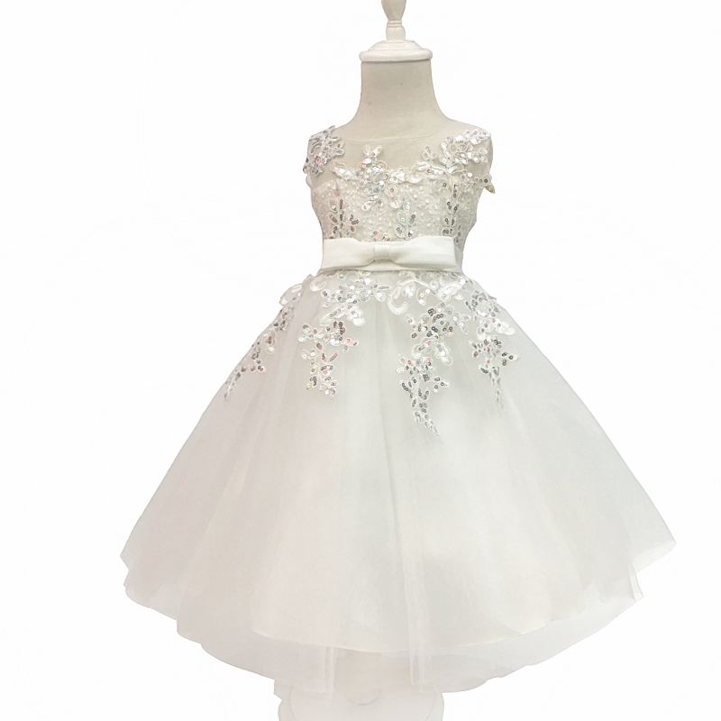 Free Shipping 3 10 Years Children Party Dress 2018 New Design Ivory Flower Girl Dresses For Weddings Sequine Kids Evening Gowns