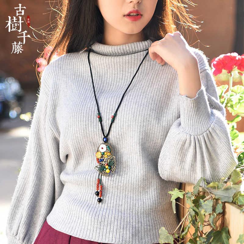 かわいいセーター女性ロングロープチェーンブロンズ合金蝶シェルフラワーペンダントファッションジュエリー新着