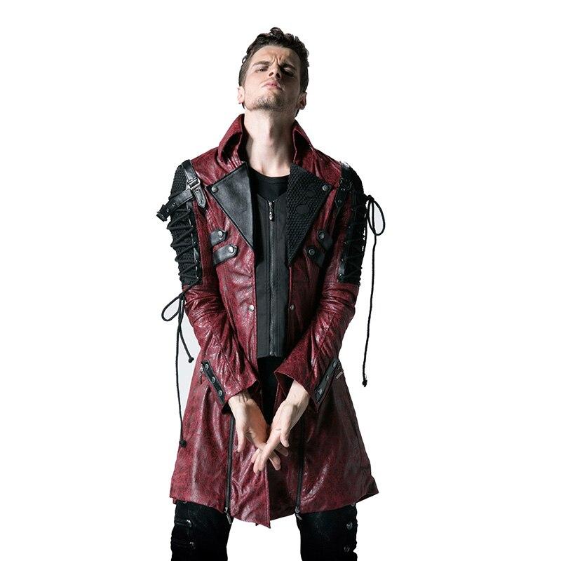 Стимпанк мужские куртки Военная Униформа форма повседневное пальто Готический Ретро Стиль искусственная кожа длинные