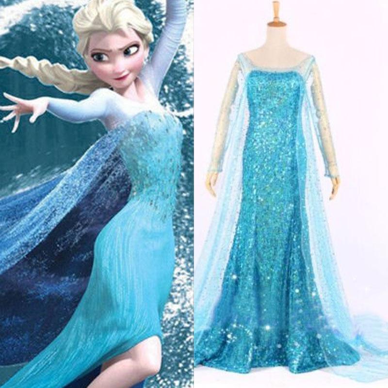 Queen Elsa Cosplay Dress Snow Princess elsa costume Adult Size S M L XL