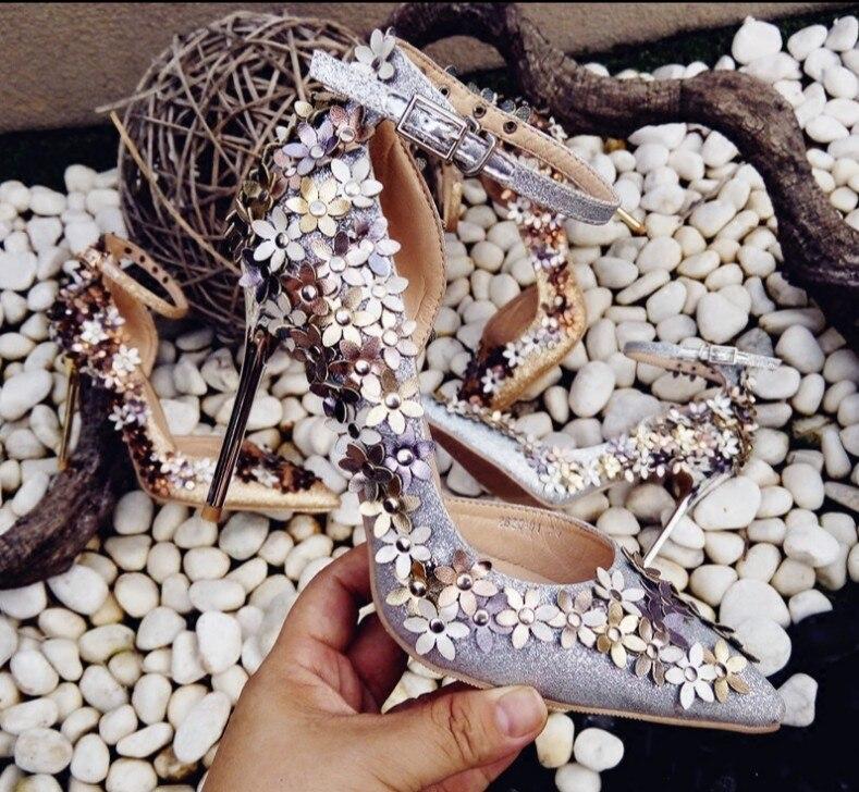 Summer 2018 Hot Peu Cheville Profonde Doux Sangle Noce 7cm Chaussures Glitter Conception De 7cm 9cm Fleurs Talons Spring Haute Pompes 9cm Femme EIWD9e2YH