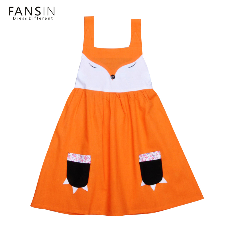 Fansin Cartoon Fox Dress Baby Girls Dresses Summer Sleeveless Children Kids Clothes Casual Girl Clothing Party