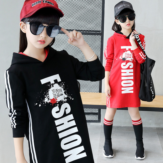 Sweatshirt Tide Hoos Long T Shirt Red Black Hooded Clothes 2018 Spring Autumn Size