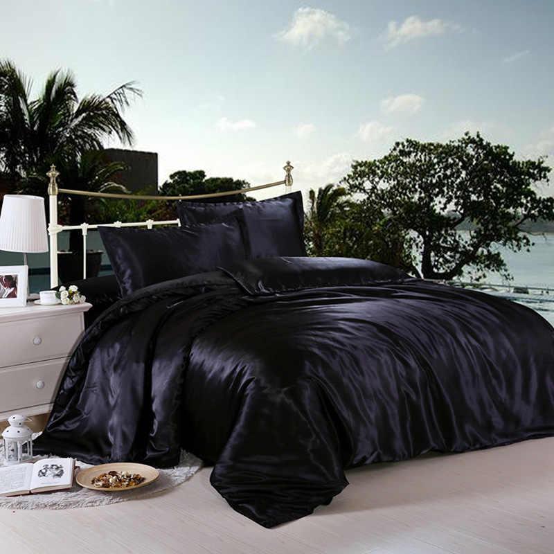 書き込み黒/白寝具セット王ダブルサイズサテンシルク夏使用コールドベッドリネン高級寝具キット布団カバーセット