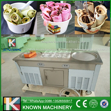 Free shipping supply the fried ice cream roll machine / thailand fry ice cream machine double pan with refrigerated cabinet