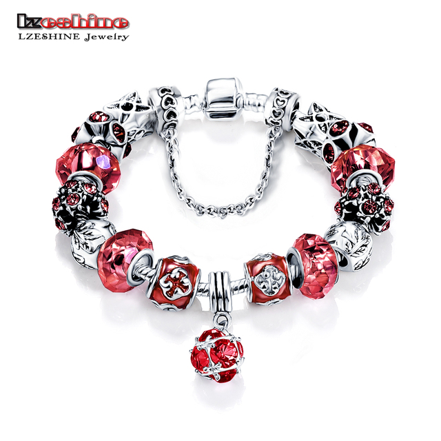 LZESHINE Antique Silver Original Women Glass Charm Bracelet & Bangle Fit