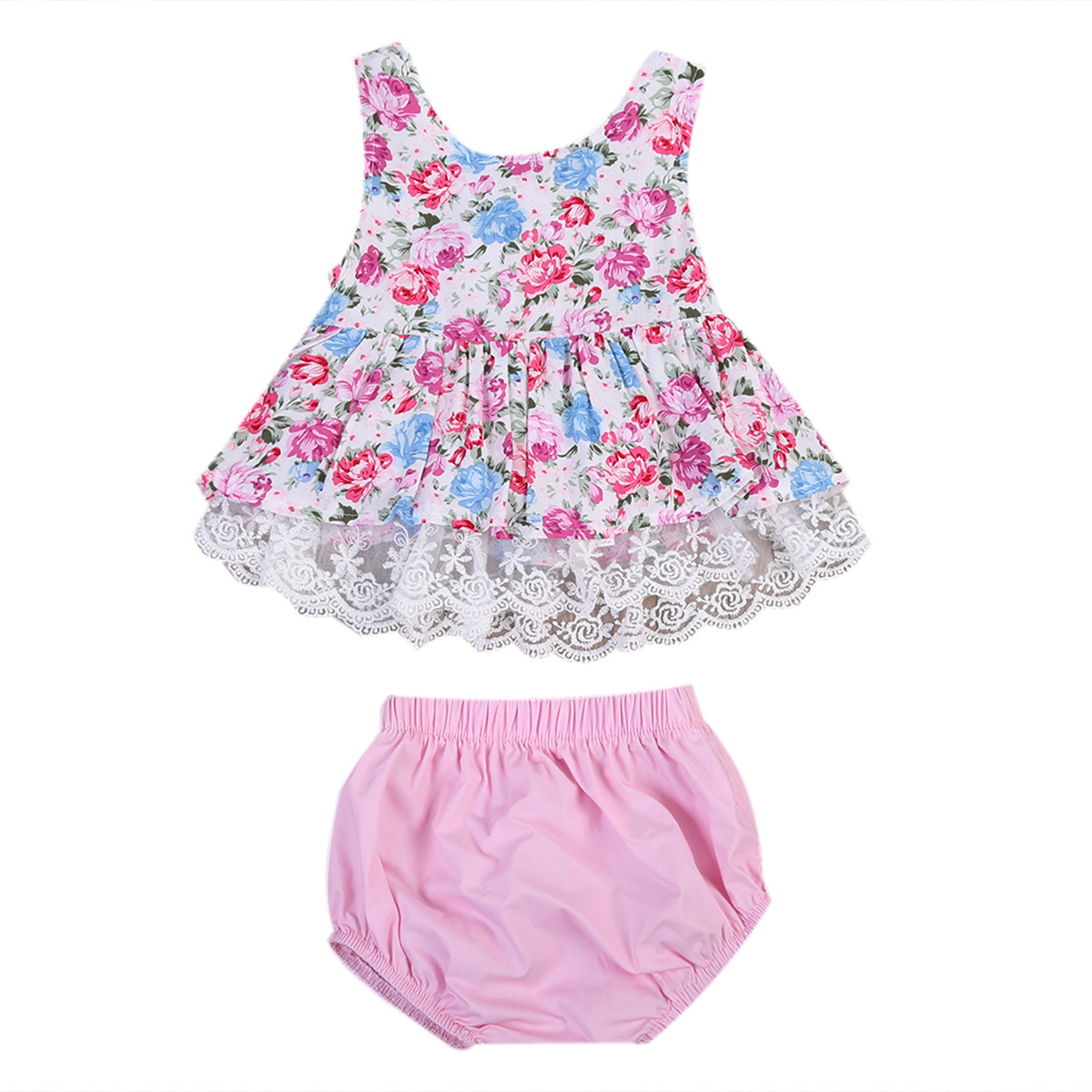 2017 Cute Newborn Baby Girl Clothes Set Summer Sleeveless Lace Floral Mini Dress Tops+Bloomers Shorts 2PCS Outfits Kids Clothing 0 24m floral baby girl clothes set 2017 summer sleeveless ruffles crop tops baby bloomers shorts 2pcs outfits children sunsuit
