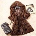 QUEENFUR Новый Настоящее Вязать Норки Куртка С Капюшоном Зима теплый Подлинная Норки Пальто Женская Мода Норки Одежды верхняя одежда