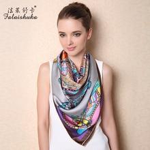Новые модные брендовые женские шелковые шарфы с цветочным принтом большой квадратный шелковый шарф для женщин с животным принтом 110*110 см