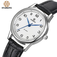 STARKING Brand Women Japanese Quartz Movement Fashion Black Leather strap Vintage Ladies Wrist Watch BL0908