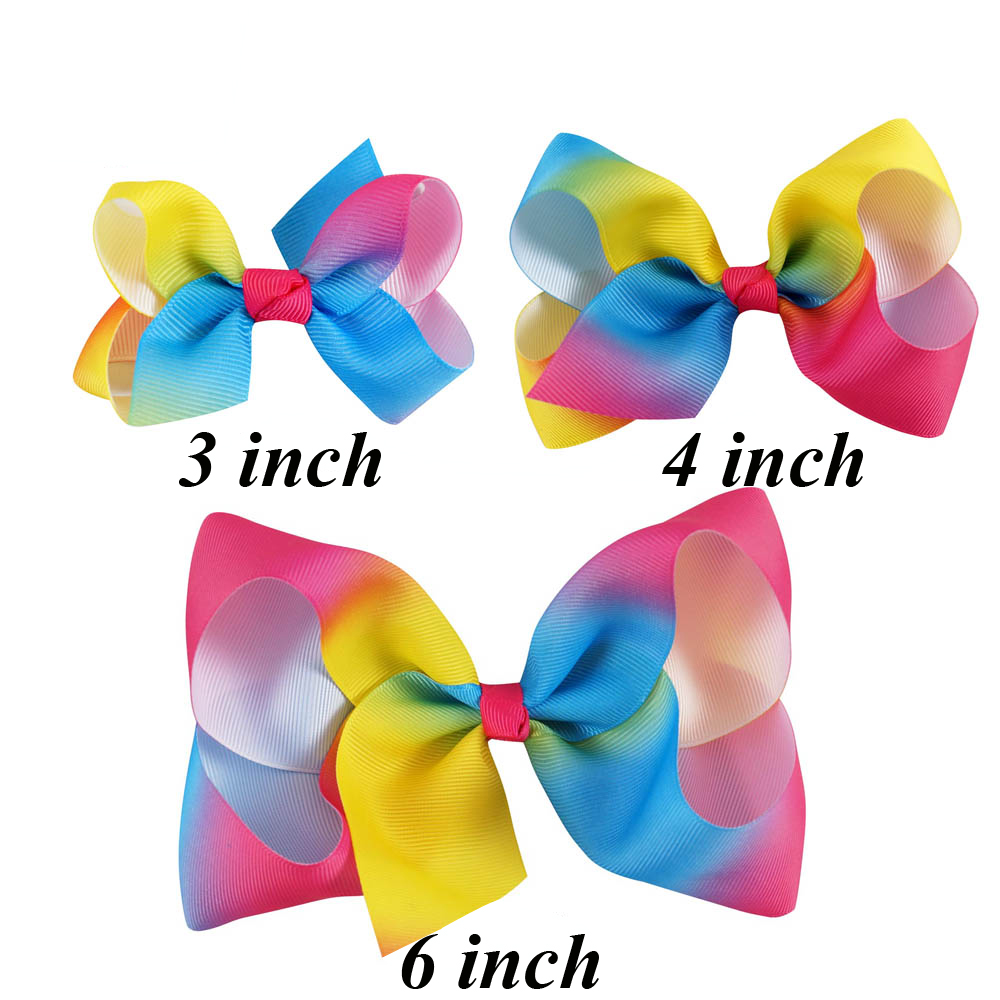 15 Pcs/lot 3 4 6 Rainbow Ribbon Bow With Clip For Girls Kids Handmade Boutique Fashion Barrettes Hairgrips Hair Accessories
