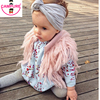 Handmade Crochet Kids Fringed Vest Brand Girls Waistcoat Outwwear Children Cardigan Faux Fur Sweater Vest For