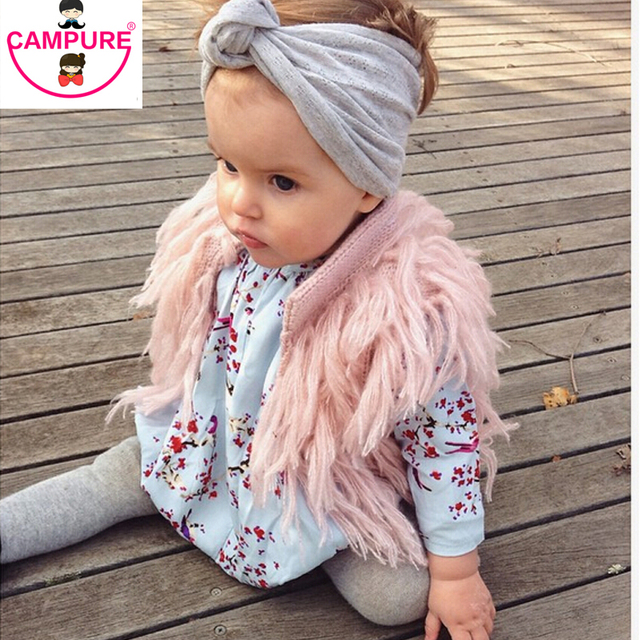 Handmade Crochet Kids Fringed Vest Brand Girls Waistcoat Outwwear Children Cardigan Faux Fur Sweater Vest For