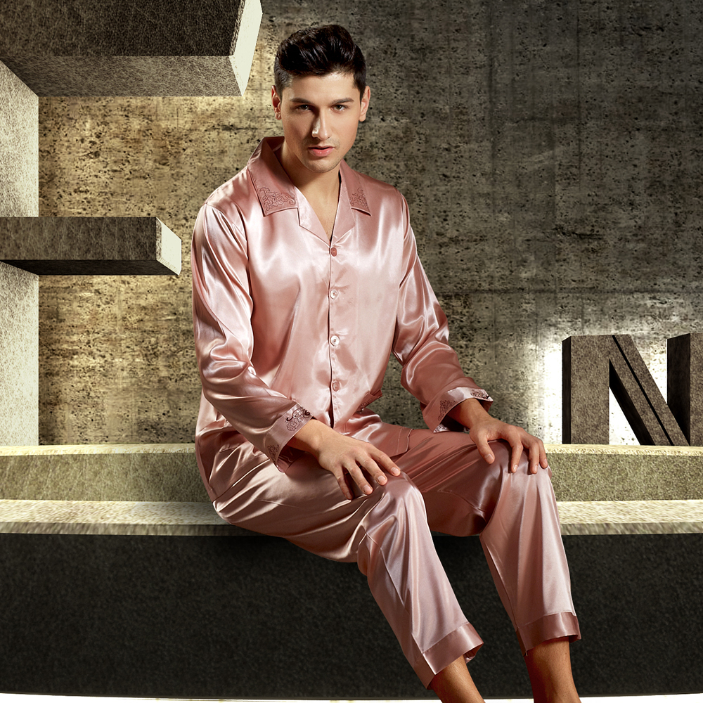 2019 New Brand Satin Silk Men Pajamas Luxurious Embroidery Sleepwear  Long-Sleeved Pyjama Sets High f7a361486